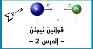 قوانين نيوتن القانون الثاني لنيوتن الدرس 2