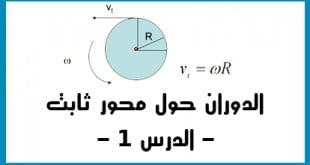 تطبيقات نيوتن الدوران حول محور ثابت الدرس 1